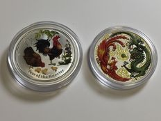 Australia - 2 x 1 AUD Lunar II Rooster + Phoenix and Dragon 2 pieces, each 1 oz - in fine colours