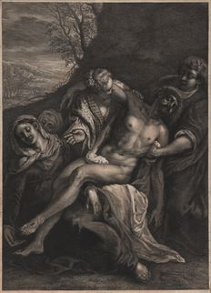 Cornelis Visscher (1628 - 1658) after Jacopo Tintoretto ( 1519 - 1594) - Pièta with the lifeless body of Christ - Second state on four - Ca. 1655