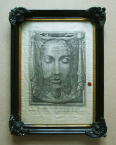 Antonio Puccinelli (1822-1897) - screen print on linen after the shroud of the Holy Veronica - Italy - 19th century
