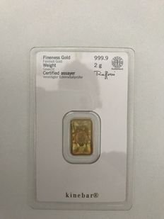 2 grams Gold Bullion Heraeus Kinebar , 999,9 fine gold - Safely packed in blister