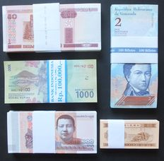 World - 500 Banknotes in bundles of 100 - Belarus + Cambodia + Venezuela + China + Indonesia -  Original bundles