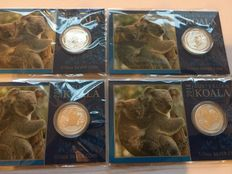 Australia - Perth Mint - 4 piece silver coin - Koala 2014 - in blister packaging with coin card and certificate