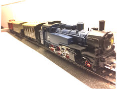 Märklin H0 - black and blue fsteam locootive unit with 3 Prussian Märklin wagons