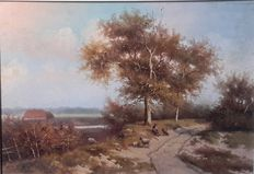 Unknown - Dutch landscape with sheep and shepherd (Romance)