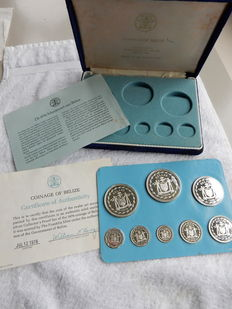 "Belize – Coin set 1976 ""Coinage of Belize"" 1 cent through 10 Dollars – silver in cassette"