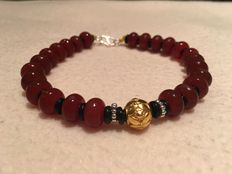 24 K pure gold beads cherry color agate bracelet - no reserve price