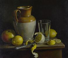 Constance Cooper. SWA. (1868-1960) -  Still life with lemons