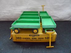 """Dinky Toys - Scale 1/43 - Box of 6 """"Four - Wheel Hand Trucks"""" green and yellow No.383/105"""