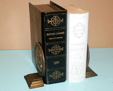 Book objects; Two fake books and a couple of bronze bookends - 20th century
