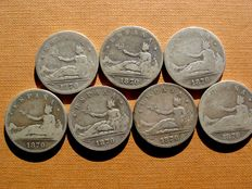 Spain – 7 silver pesetas – Provisional Government (Spain) – 2 (1870 coins) (7).
