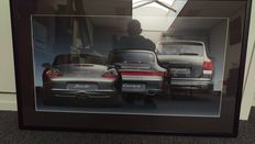Porsche generation 911 4S (996) Boxster S (986) and Cayenne Turbo framed artwork with taillight lighting - year 2000