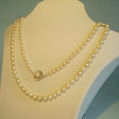 Long genuine Japanese Akoya pearl necklace with gold clasp