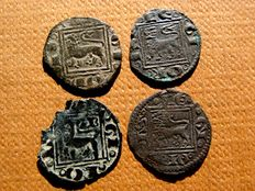 Spain - Set of 4 óbolos de vellón coins, Alfonso X (1252 - 1284). Burgos and without mint.