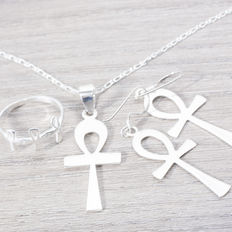Life Cross set made in silver, Italian design