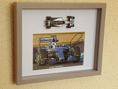 Lewis Hamilton - original 3D autographed framed photo + miniature Mercedes + COA.