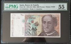Spain - 5000 pesetas 1992 - Pick 165 - Serie 9J - Especial Replacement