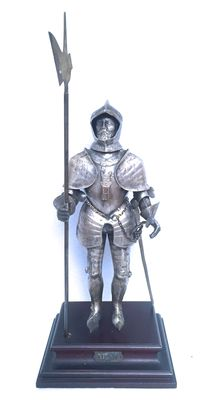 """Sculpture in silver 800/1000 """"Warrior with sword and halberd"""", 20th century"""