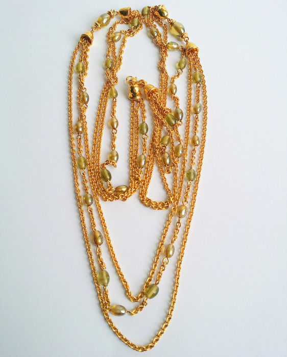 Vintage Signed Monet Gold Tone Beaded Multi Strand Chain Necklace