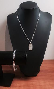 Silver set with a silver bar pendant, 925/1000  (sterling silver)