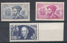 France 1934 - Jacques Cartier and Ader, signed Calves - Yvert no. 296/297 and 398