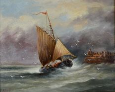B Bauckham (19th/20th century) - A sailing vessel entering harbour in a gale