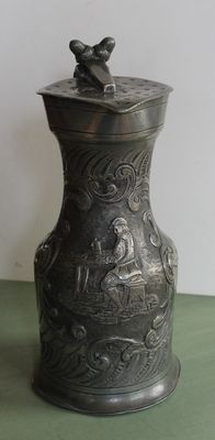 Rare engraved pewter cider jug-Normandy-18th century