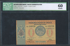 Dutch Indies / Dutch Administration - 1 guilder 1940 - in ICG Slab - Pick 108