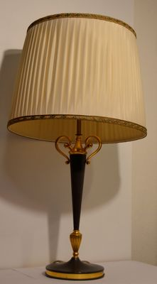 Large lamp base with gold-plated elements and a large lamp shade made in France in the first half of the 20th century.