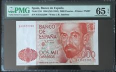 Spain - 2000 pesetas 1980 - Pick 159 - Serie 8A - Replacement