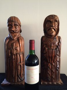 2 wooden religious statues for storing wine - 20th century.