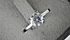 1.17 ct round diamond ring made of 14 kt gold +++ no reserve price +++