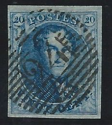 """Belgium 1850 – """"Médaillon"""" 20 cent in blue, with a very good margin, P24 Brussels – COB 4"""