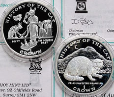 "Isle of Man - 2 Crowns set 1997 ""History of the Cat"" - silver"