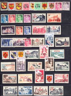 Réunion 1949/1958 – Fine, almost complete collection of stamps with C.F.A. Overprinted with Poste Aérienne and Taxes.