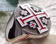 AJS Collection - Unique Knights Templar Christianity Religion Pope Ring Jerusalem Cross massive Hypoallergenic 316L surgical steel  Handmade 21st century