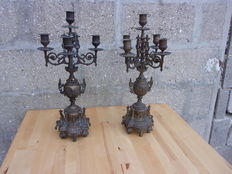 A bunch of brass/bronze fireplace candle holders-France-ca 1900