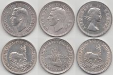 South Africa – 5 shillings 1947, 1952 and 1957  – silver.
