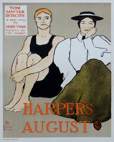 Edward Penfield (1866-1925) – Tom Sawyer – Harper's August; original small lithograph poster
