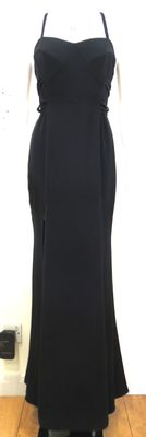 Versace Black Evening Dress - Thigh High Splits, Buckles, Racer Back