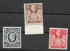 Great Britain King George VI 1939/48 - Stanley Gibbons 476/478