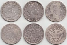 United States – Quarter Dollar 1891s, 1898 and 1904  – silver