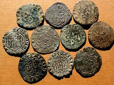 Spain - Set of 10 vellon blanco coins, Juan II (1406 - 1454) and Enrique IV (1454 - 1474). Various mints, predominantly Cuenca and Seville. (10)