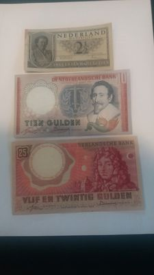 Netherlands - 2 ½ guilders Juliana 1949 - 6 x 10 guilders Hugo de Groot - 25 guilders Huygens