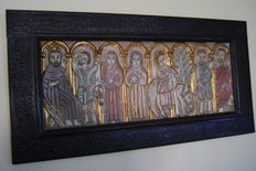 Ancient religious image, mid 20th century, hand carved in wood, 116cm x 60cm