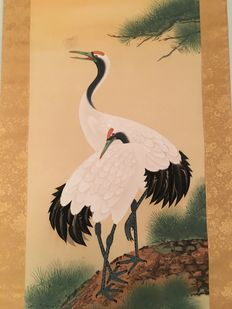 Silk scroll - Signed by Juho - Pair of Manchurian cranes in love - Japan - Mid 20th century