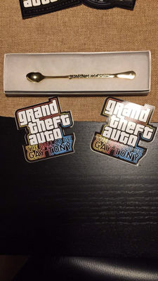 """Grand Theft Auto The Ballad of Gay Tony Gold Plated """"coke""""spoon!"""