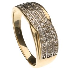 Yellow gold ring set with 33 brilliant cut diamonds of approx. 0.165 ct in total