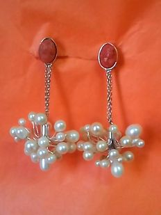 Silver earrings with genuine pearls and coral cameos