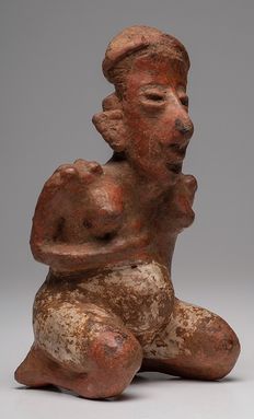 Rare Pre-Columbian Nayarit kneeling female giving birth  - 16 cm