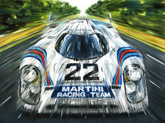 Porsche - 917LH Martini Racing Team Le Mans 1971 Car - Art Print Poster - Hand signed by Artist Andrea Del Pesco + COA.